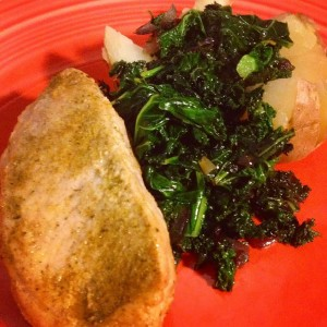 Baked Pork Chops with Kale